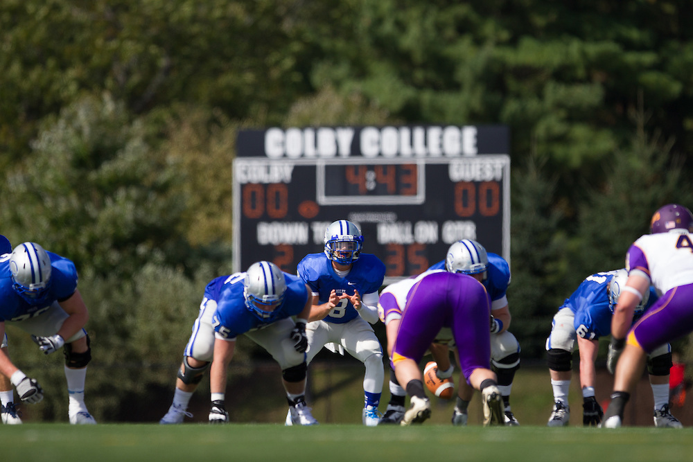 Justin Ciero, of Colby College, in the first quarter of a NCAA Division III football game on September 21, 2013 in Waterville, ME. (Dustin Satloff/Colby College Athletics)