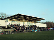 Dulwich Hamlet FC fans fill the KNK Stadium during the Oxford City game on the 11th November 2018 at the KNK Stadium in South London in the United Kingdom. The KNK Stadium is Dulwich Hamlets temporary ground following eviction from their home ground, Champion Hill in March 2018.