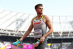 Germany's Rico Freimuth after competing in the 100m during the men's decathlon during day eight of the 2017 IAAF World Championships at the London Stadium. PRESS ASSOCIATION Photo. Picture date: Friday August 11, 2017. See PA story ATHLETICS World. Photo credit should read: Martin Rickett/PA Wire. RESTRICTIONS: Editorial use only. No transmission of sound or moving images and no video simulation.