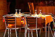 Collioure. Roussillon. A table waiting for lunch guests. France. Europe.