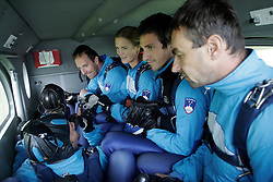 Irena Avbelj (in the middle), several times World Champion in Freefall Style and Accuracy Landing and in Para-ski at training, on September 21, 2005, in Lesce-Bled, Slovenia. (Photo by Vid Ponikvar / Sportal Images)