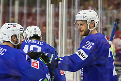Jan Urbas of Slovenia and other players celebrate during Ice Hockey match between National Teams of Italy and Slovenia in Round #5 of 2018 IIHF Ice Hockey World Championship Division I Group A, on April 28, 2018 in Arena Laszla Pappa, Budapest, Hungary. Photo by David Balogh / Sportida