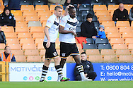 Theo Robinson Goal celebration 1-0 during the Sky Bet League 1 match between Port Vale and Rochdale at Vale Park, Burslem, England on 23 April 2016. Photo by Daniel Youngs.