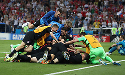 SOCHI, July 7, 2018  Players of Croatia celebrate victory after the 2018 FIFA World Cup quarter-final match between Russia and Croatia in Sochi, Russia, July 7, 2018. Croatia won 6-5 (4-3 in penalty shootout) and advanced to the semi-finals. (Credit Image: © Yang Lei/Xinhua via ZUMA Wire)