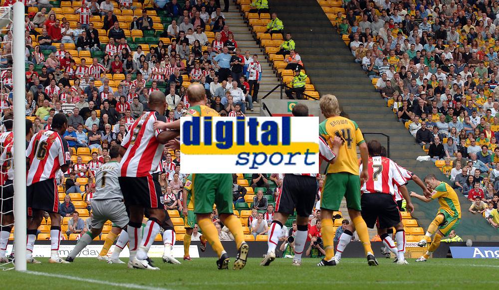 Photo: Ashley Pickering.<br /> Norwich City v Southampton. Coca Cola Championship. 18/08/2007.<br /> Jamie Cureton (far R) scores his opener for Norwich