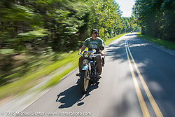Kelly Modlin rides his 1927 Henderson Deluxe during Stage 5 of the Motorcycle Cannonball Cross-Country Endurance Run, which on this day ran from Clarksville, TN to Cape Girardeau, MO., USA. Tuesday, September 9, 2014.  Photography ©2014 Michael Lichter.