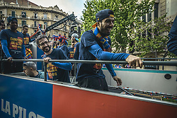 April 30, 2018 - Barcelona, Catalonia, Spain - FC Barcelona forward LUIS SUAREZ jokes around during the FC Barcelona's open top bus victory parade after winning the LaLiga with their eighth double in the club history (Credit Image: © Matthias Oesterle via ZUMA Wire)