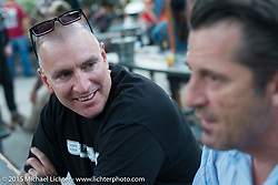 Duane Ballard and Cole Foster on Saturday night party at Cooks Corner after day one of the Born Free Vintage Chopper and Classic Motorcycle Show. Trabuco, CA. USA. June 27, 2014.  Photography ©2014 Michael Lichter.