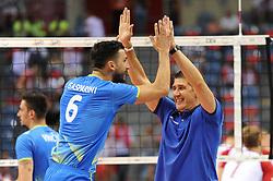 Mitja Gasparini, Slobodan Kovac of Slovenia during the CEV Volleyball European Championship game Poland - Slovenia on August 30, 2017 in Krakow, Poland. (Photo by Krzysztof Porebski / Press Focus)