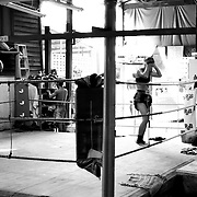 Muay Thai training session in Bangkok, Thailand.