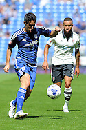 Cardiff's Peter Whittingham goes past Fulham's Ashley Richards. Skybet football league championship match, Cardiff city v Fulham at the Cardiff city stadium in Cardiff, South Wales on Saturday 8th August  2015.<br /> pic by Carl Robertson, Andrew Orchard sports photography.