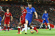 Gary Cahill of Chelsea (r) shields the ball from Daniel Sturridge of Liverpool. Premier League match, Liverpool v Chelsea at the Anfield stadium in Liverpool, Merseyside on Saturday 25th November 2017.<br /> pic by Chris Stading, Andrew Orchard sports photography.
