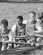 Kingston on Thames, United Kingdom.   Universty of London M8+. UL N0. 6 Sal HASSAN,  The final Round of the Leyland Daf Sprint series, at Kingston RC on the River Thames, Surrey, England, <br /> <br /> Saturday 04.05.1987<br /> <br /> [Mandatory Credit; Peter Spurrier/Intersport-images] 1987 Leyland Daf Sprints, Kingston. UK