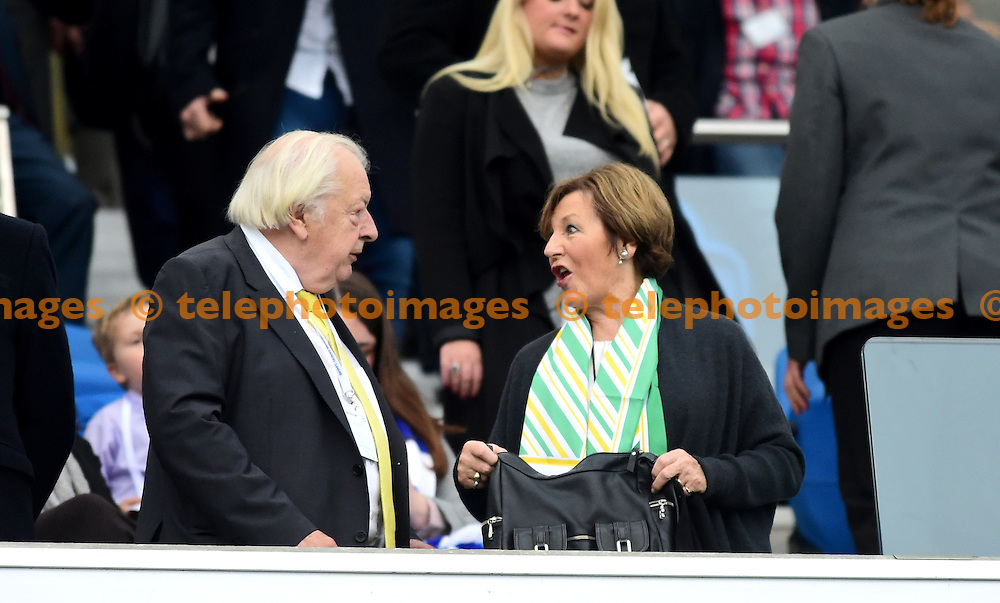Delia Smith during the Sky Bet Championship match between Brighton and Hove Albion and Norwich City at the American Express Community Stadium in Brighton and Hove. October 29, 2016.<br /> Simon  Dack / Telephoto Images<br /> +44 7967 642437