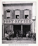 With his hands thrust in his pockets stands General Grant, next to General McClernand, who is directly in front of the pillar of the Cairo (Illinois) post-office. The future military leader had yet his great name to make, for the photograph of this gathering was taken in Sep tember, 1861, from the book ' The Civil war through the camera ' hundreds of vivid photographs actually taken in Civil war times, sixteen reproductions in color of famous war paintings. The new text history by Henry W. Elson. A. complete illustrated history of the Civil war