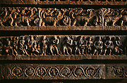 Carvings on the temple wall at Halebid, South India. The ancient capital of the Hoysalas, Halebid was then known as Dwarasamudram. The city of Dwarasamudra flourished as a Capital of the Hoysala Empire during the 12th & 13th centuries..