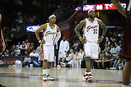LeBron James  and Daniel Gibson of Cleveland..The Miami Heat lost to the host Cleveland Cavaliers 84-76 at Quicken Loans Arena, April 13, 2008...