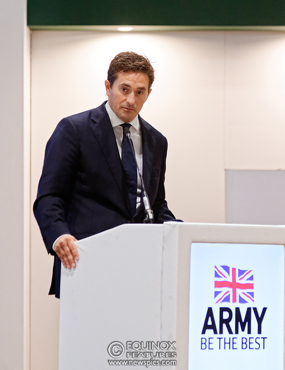 London, United Kingdom - 12 September 2019<br /> Johnny Mercer MP, Parliamentary Under-Secretary of State for Defence People and Veterans for the UK Government gives a keynote address speech and answers questions from the audience at DSEI 2019 security, defence and arms fair at ExCeL London exhibition centre.<br /> (photo by: EQUINOXFEATURES.COM)<br /> Picture Data:<br /> Photographer: Equinox Features<br /> Copyright: ©2019 Equinox Licensing Ltd. +443700 780000<br /> Contact: Equinox Features<br /> Date Taken: 20190912<br /> Time Taken: 10201290<br /> www.newspics.com