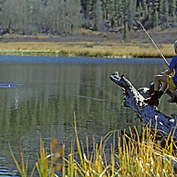 FISHING, Ben Wiltsie (MR) trout fishing in Grass Lake, Sierra Nevada John Muir Wild.,CA.