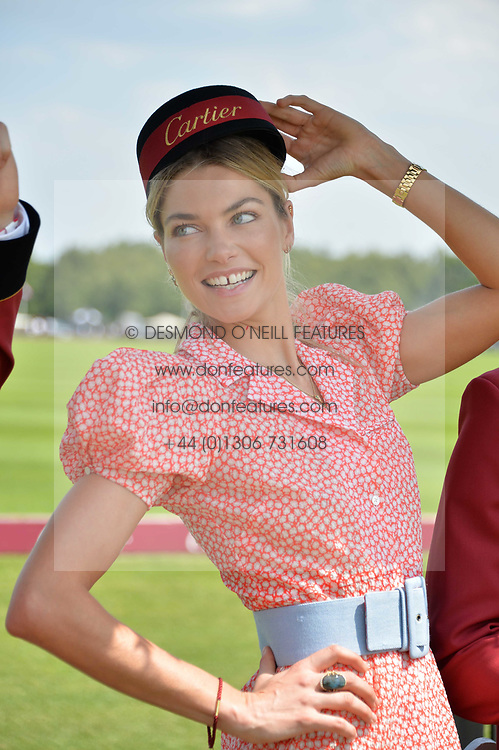 Jessica Hart at Cartier Queen's Cup Polo, Guard's Polo Club, Berkshire, England. 18 June 2017.<br /> Photo by Dominic O'Neill/SilverHub 0203 174 1069 sales@silverhubmedia.com
