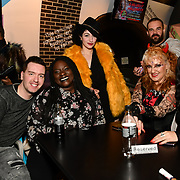Richard Cutmore, Abena, Oriana Curls,Dave the Bear, Kelly Wild and Lili Rose attend BBC1 All Together Now Series 1 Cast Members, fright night at The London Bridge Experience & London Tombs on 28 October 2018, London, UK.