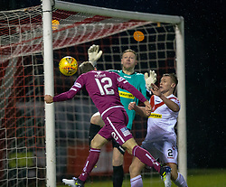 Arbroath's Danny Denholm misses a chance. Airdrie 0 v 1 Arbroath, Scottish Football League Division One played 15/12/2018 at Airdrie's Excelsior stadium.