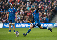 EDINBURGH, SCOTLAND - FEBRUARY 11: 3  France's Baptiste Serin during the NatWest Six Nations match between Scotland and France at Murrayfield on February 11, 2018 in Edinburgh, Scotland. (Photo by MB Media/Getty Images)