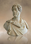 Roman Portrait bust of Roman Emperor Commodus, circa 180 AD excavated from Albano Laziale. Roman Emperor from 180 to 192 AD. Commodus also ruled as co-emperor with his father Marcus Aurelius from 177 until his father's death in 180 AD.. The National Roman Museum, Rome, Italy .<br /> <br /> If you prefer to buy from our ALAMY PHOTO LIBRARY  Collection visit : https://www.alamy.com/portfolio/paul-williams-funkystock/roman-museum-rome-sculpture.html<br /> <br /> Visit our ROMAN ART & HISTORIC SITES PHOTO COLLECTIONS for more photos to download or buy as wall art prints https://funkystock.photoshelter.com/gallery-collection/The-Romans-Art-Artefacts-Antiquities-Historic-Sites-Pictures-Images/C0000r2uLJJo9_s0