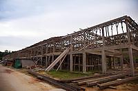 The new Murat Longhouse under construction at Skrang River in Sarawak.