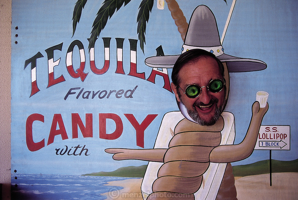 Larry Peterman, founder of the HotLix candy company, which specializes in insect novelties, pictured here in the candy store at the his factory in Pismo Beach, California, United States. (Man Eating Bugs page 178,179)