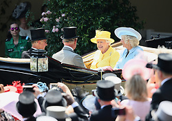 Queen Elizabeth II and The Duchess of Cornwall arriving during day two of Royal Ascot at Ascot Racecourse.