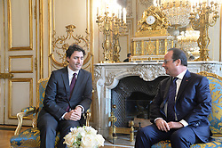 French President Francois Hollande receives Canadian Prime Minister Justin Trudeau ahead of the COP21 UN Conference on Climate Change, at The Elysee Palace in Paris, France on November 29, 2015. Photo by Christian Liewig/ABACAPRESS.COM  | 525748_006 Paris France