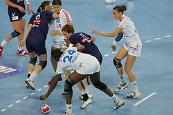 Signate Mariama of France and Jankovic Alja of Slovenia during handball match between National teams of Slovenia and France of 2011 Women's World Championship Play-off, on June 12, 2011 in Arena Stozice, Ljubljana, Slovenia. (Photo By Urban Urbanc / Sportida.com)