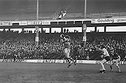 Kerry jumps high for the ball during the All Ireland Senior Gaelic Football Semi Final, Dublin v Kerry in Croke Park on the 23rd of January 1977. Dublin 3-12 Kerry 1-13.
