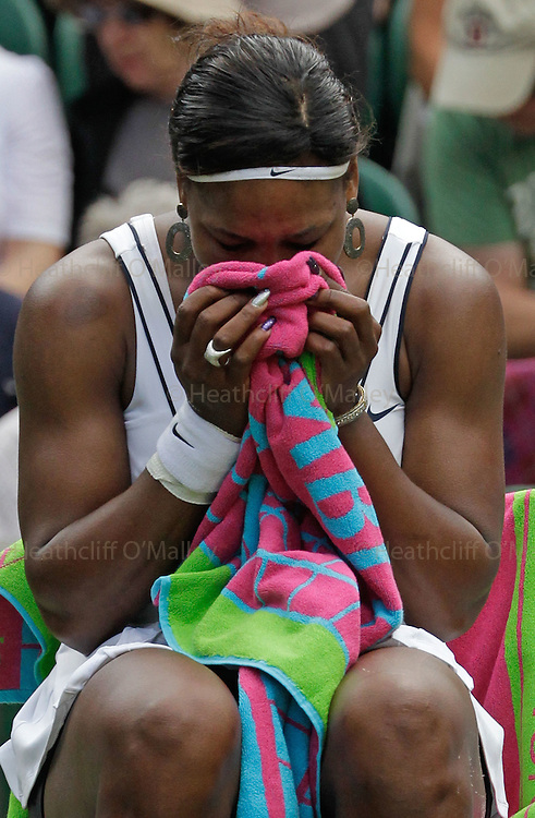 Mcc0032 .Daily Telegraph..Serena Williams cries after her first round victory...Serena Williams vs Aravane Rezai..The second day of The Lawn Tennis Championships at Wimbledon..21 June 2011 Wimbledon