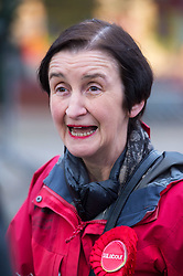 © Licensed to London News Pictures. 21/11/2019. Bristol, UK. General Election 2019; NIA GRIFFITH, Labour shadow defence secretary, visits Fountain Square, Broad Street, in the seat of Filton and Bradley Stoke on the day Labour launched their manifesto. Labour candidate Mhairi Threlfall is challenging sitting Conservative MP Jack Lopresti in Filton and Bradley Stoke. Photo credit: Simon Chapman/LNP.