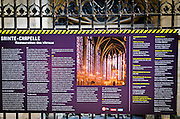 Interpretive sign descibing the restoration at Sainte-Chapelle Chapel, Paris, France