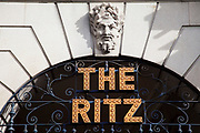 Sign for the famous Ritz in London. Famous for it's afternoon teas, and exclusive hotel rooms.