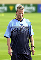Photo. Glyn Thomas<br />England Training-prior to England v Croatia international friendly.<br />Five Lakes. 19/08/2003.<br />David Beckham is in relaxed mood at England training.