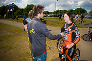 #75 (VAN BENTHEM Merle) NED getting some media attention at the UCI BMX Supercross World Cup in Papendal, Netherlands.