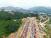 Aerial view of the recently relocated Hmong ethnic minority village of Ban Chalern, Phongsaly, Laos. Ban Chalern was relocated due to construction of the Nam Ou Cascade Hydropower Project Dam 7