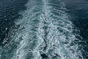 Wake in the sea from a Brittany Ferries roll-on / roll-off car and vehicle ferry on 26th September 2021 in Roscoff, Brittany, France. Brittany Ferries is the trading name of the French shipping company, BAI Bretagne Angleterre Irlande S.A. founded in 1973 by Alexis Gourvennec, that operates a fleet of ferries and cruise ferries between France and the United Kingdom.