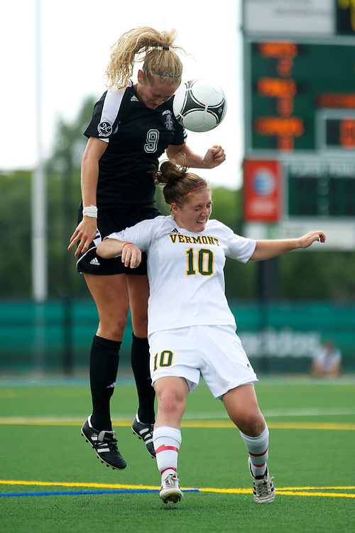 Vermont midfielder Kerry Glynn (10) battles for the ball during the women's soccer game between the Brown Bears and the Vermont Catamounts at Virtue Field on Saturday afternoon September 8, 2012 in Burlington, Vermont.