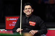 Ronnie O'Sullivan (Eng) reacts as he sits in his chair.. Ronnie O'Sullivan (Eng) v Neil Robertson (Aus), Quarter-Final match at the Dafabet Masters Snooker 2017, at Alexandra Palace in London on Thursday 19th January 2017.<br /> pic by John Patrick Fletcher, Andrew Orchard sports photography.