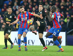 February 4, 2018 - London, England, United Kingdom - L-R Crystal Palace's James McArthur, Newcastle United's Mikel Merino and Crystal Palace's Manadou Sakho..during Premier League match between Crystal Palace and Newcastle United at Selhurst Park Stadium, London,  England on 04 Feb 2018. (Credit Image: © Kieran Galvin/NurPhoto via ZUMA Press)