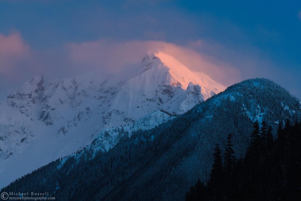 Nodoubt Peak on Mount Redoubt Snowy Alpenglow from Chilliwack Lake Provincial Park.