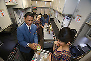 Airbus A380 first commercial flight - Singapore Airlines SQ 380 Singapore-Sydney on October 25, 2007. The galley.