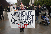 Pro Brexit anti European Union Leave protesters demonstrating in Westminster on 21st October 2019 in London, England, United Kingdom. Brexit is the scheduled withdrawal of the United Kingdom from the European Union. Following a June 2016 referendum, in which 51.9% of participating voters voted to leave.