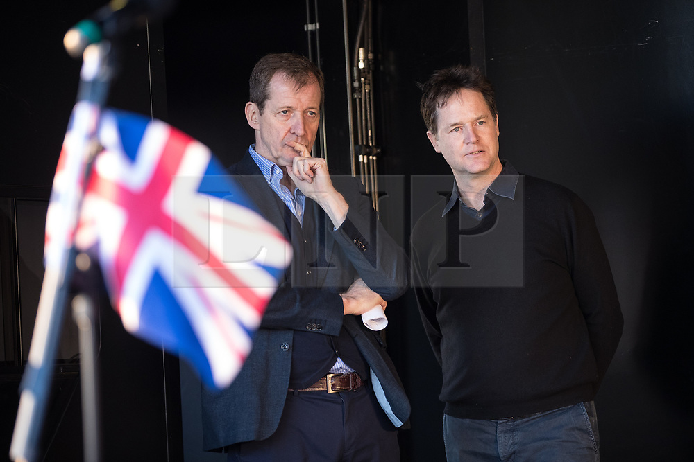 © Licensed to London News Pictures . 25/03/2017 . London , UK . ALASTAIR CAMPBELL and NICK CLEGG . A Unite for Europe anti Brexit march through central London , from Park Lane to Westminster . Protesters are campaigning ahead of the British government triggering Article 50 of the Lisbon Treaty which will initiate Britain's withdrawal from the European Union . Photo credit : Joel Goodman/LNP