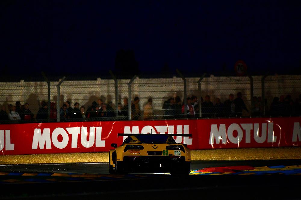#63 Corvette Racing Chevrolet Corvette C7.R: Jan Magnussen, Antonio Garcia, Mike Rockenfeller<br /> Wednesday 13 June 2018<br /> 24 Hours of Le Mans<br /> 2018 24 Hours of Le Mans<br /> Circuit de la Sarthe  FR<br /> World Copyright: Scott R LePage